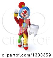 Clipart Of A 3d Colorful Clown Flying And Holding A Tooth Royalty Free Illustration