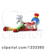 Clipart Of A 3d Colorful Clown Resting On His Side And Holding A Tooth Royalty Free Illustration