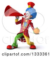Clipart Of A 3d Colorful Clown Holding A Navel Orange And Announcing To The Left With A Megaphone Royalty Free Illustration