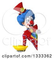 Clipart Of A 3d Colorful Clown Holding A Banana And Looking Around A Sign Royalty Free Illustration