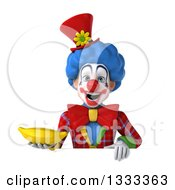 Clipart Of A 3d Colorful Clown Holding A Banana Over A Sign Royalty Free Illustration