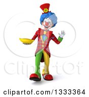 Clipart Of A 3d Colorful Clown Walking Waving And Holding A Banana Royalty Free Illustration