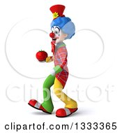 Clipart Of A 3d Colorful Clown Walking To The Left And Holding A Tomato Royalty Free Illustration