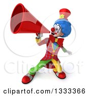 Clipart Of A 3d Colorful Clown Using A Megaphone Royalty Free Illustration