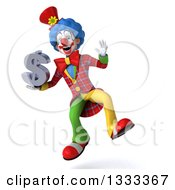 Clipart Of A 3d Colorful Clown Jumping And Holding A Dollar Symbol Royalty Free Illustration