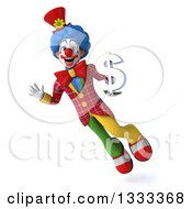 Clipart Of A 3d Colorful Clown Flying Waving And Holding A Dollar Symbol Royalty Free Illustration