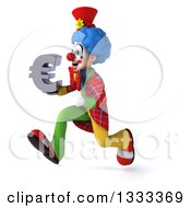 Clipart Of A 3d Colorful Clown Sprinting To The Left And Holding A Euro Currency Symbol Royalty Free Illustration