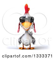 Clipart Of A 3d White Chicken Wearing Sunglasses Royalty Free Illustration by Julos