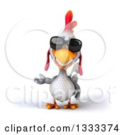 Clipart Of A 3d White Chicken Presenting And Wearing Sunglasses Royalty Free Illustration