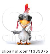 Clipart Of A 3d White Chicken Pointing And Wearing Sunglasses Royalty Free Illustration