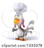 Poster, Art Print Of 3d White Chef Chicken Giving A Thumb Up Facing Slightly Left