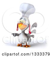 Poster, Art Print Of 3d White Chef Chicken Pointing To The Left
