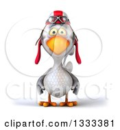 Clipart Of A 3d White Chicken Pilot Royalty Free Illustration
