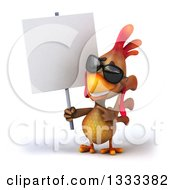 Clipart Of A 3d Happy Brown Chicken Wearing Sunglasses Holding And Pointing To A Blank Sign Royalty Free Illustration