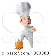 Clipart Of A 3d Young White Male Chef Holding A Navel Orange Around A Sign Royalty Free Illustration