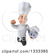 Clipart Of A 3d Young White Male Chef Flying And Holding A Dollar Currency Symbol Royalty Free Illustration
