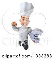 Clipart Of A 3d Young White Male Chef Flying And Holding A Euro Currency Symbol Royalty Free Illustration