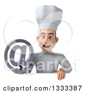 Clipart Of A 3d Young White Male Chef Holding An Email Arobase At Symbol Over A Sign Royalty Free Illustration