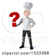 Clipart Of A 3d Young White Male Chef Holding A Question Mark Royalty Free Illustration