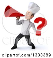 Clipart Of A 3d Young White Male Chef Holding A Question Mark And Using A Megaphone Royalty Free Illustration