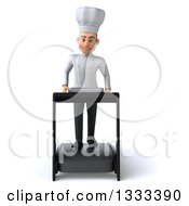 Clipart Of A 3d Young White Male Chef Walking On A Treadmill Royalty Free Illustration
