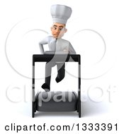 Clipart Of A 3d Young White Male Chef Sprinting On A Treadmill Royalty Free Illustration