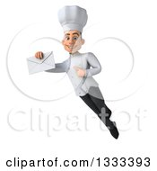 Clipart Of A 3d Young White Male Chef Flying Holding And Pointing To An Envelope Royalty Free Illustration