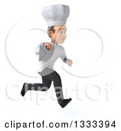 Clipart Of A 3d Young White Male Chef Sprinting To The Right And Holding An Envelope Royalty Free Illustration