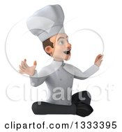 Clipart Of A 3d Young White Male Chef Looking Surprised Facing Slightly Right And Meditating Royalty Free Illustration