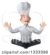 Clipart Of A 3d Young White Male Chef Looking Surprised And Meditating Royalty Free Illustration