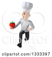 Clipart Of A 3d Young White Male Chef Sprinting And Holding A Strawberry Royalty Free Illustration
