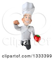 Clipart Of A 3d Young White Male Chef Flying And Holding A Tomato Royalty Free Illustration