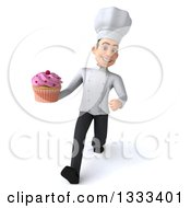 Clipart Of A 3d Young White Male Chef Speed Walking And Holding A Pink Frosted Cupcake Royalty Free Illustration
