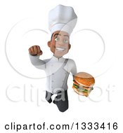 Clipart Of A 3d Young Black Male Chef Flying And Holding A Double Cheeseburger Royalty Free Illustration