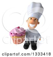 Clipart Of A 3d Short White Male Chef Holding Up A Pink Frosted Cupcake Royalty Free Illustration