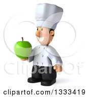 Clipart Of A 3d Short White Male Chef Facing Slightly Left And Holding A Green Apple Royalty Free Illustration