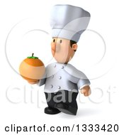 Clipart Of A 3d Short White Male Chef Walking Slightly Left And Holding A Navel Orange Royalty Free Illustration by Julos