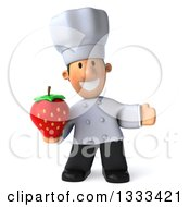 Clipart Of A 3d Short White Male Chef Presenting And Holding A Strawberry Royalty Free Illustration by Julos