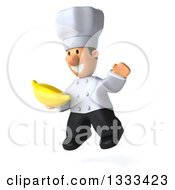 Clipart Of A 3d Short White Male Chef Facing Slightly Left Jumping And Holding A Banana Royalty Free Illustration by Julos