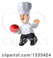 Clipart Of A 3d Short White Male Chef Facing Slightly Left Jumping And Holding A Tomato Royalty Free Illustration by Julos