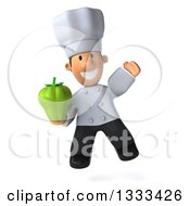 Clipart Of A 3d Short White Male Chef Jumping And Holding A Green Bell Pepper Royalty Free Illustration by Julos