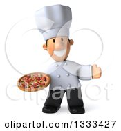 Clipart Of A 3d Short White Male Chef Presenting And Holding A Pizza Royalty Free Illustration by Julos