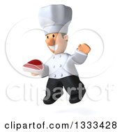 Clipart Of A 3d Short White Male Chef Facing Slightly Left Jumping And Holding A Beef Steak Royalty Free Illustration by Julos