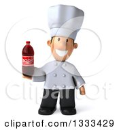Clipart Of A 3d Short White Male Chef Holding A Soda Bottle Royalty Free Illustration by Julos