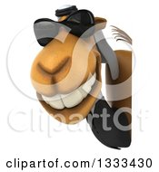Clipart Of A 3d Arabian Business Camel Wearing Sunglasses Around A Sign Royalty Free Illustration