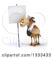 Clipart Of A 3d Bespectacled Arabian Business Camel Looking Up At A Blank Sign Royalty Free Illustration