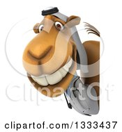 Clipart Of A 3d Arabian Doctor Camel Smiling Around A Sign Royalty Free Illustration