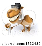 Clipart Of A 3d Arabian Camel Wearing Sunglasses Looking Up Facing Left And Holding French Fries Royalty Free Illustration