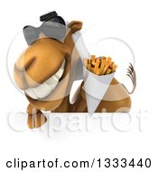 Clipart Of A 3d Arabian Camel Wearing Sunglasses And Holding French Fries Over A Sign Royalty Free Illustration
