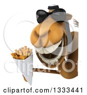 Clipart Of A 3d Arabian Camel Wearing Sunglasses And Holding French Fries Around A Sign Royalty Free Illustration